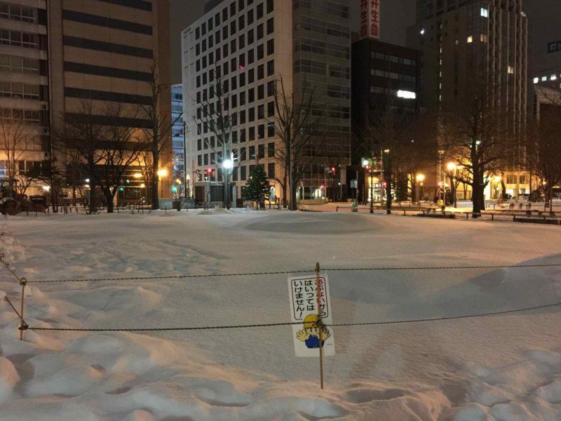 大通公園の積雪状況