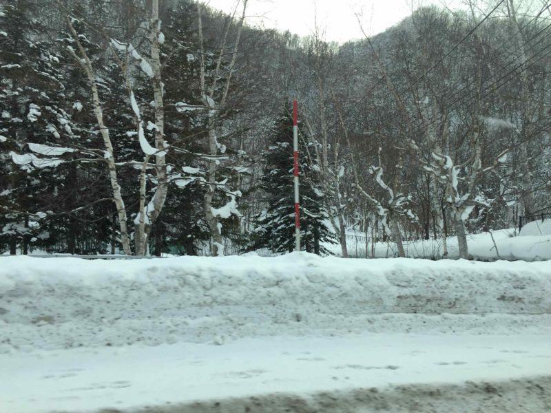札幌から定山渓温泉への道路脇の積雪状況1