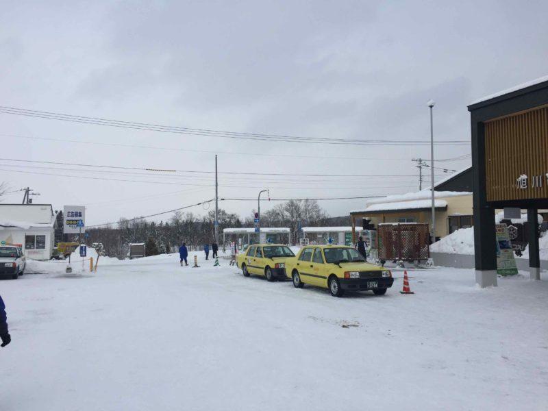 旭山動物園前のバス停